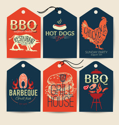 Barbecue party stickers bbq template menu design vector