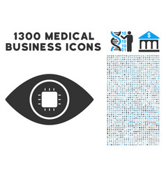Bionic eye lens icon with 1300 medical business vector
