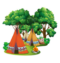 camping site with teepees and campfire vector image