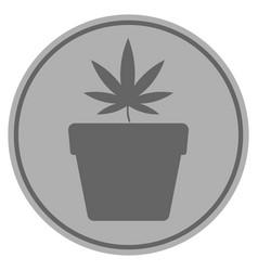 Cannabis pot silver coin vector