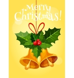 Christmas bell with holly berry and red ribbon vector