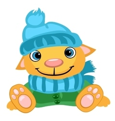 Cute dog in winter hat scarf and jacket vector