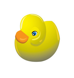 cute yellow rubber toy duck on white background vector image