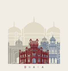 Dhaka skyline poster vector