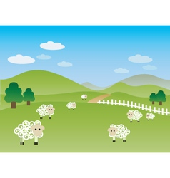 fields landscape illustration vector image