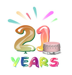 greeting card for twenty one year vector image