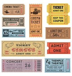 Grunge Ticket Set 1 vector image vector image