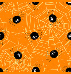 halloween seamless background with spiders and web vector image vector image