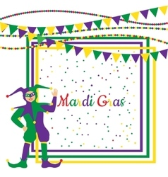 Mardi Gras Party Frame with harlequin vector image vector image