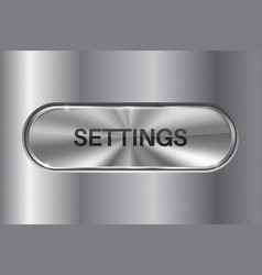 Metal oval button on stainless steel background vector