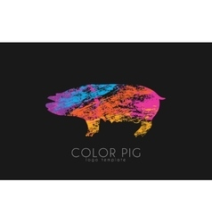 Pig pig logo color pig creative logo design vector