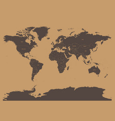 political map of world in chocolatte brown colors vector image