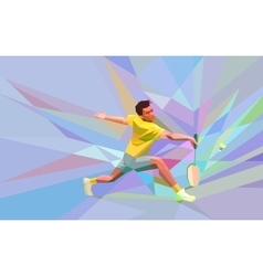 Polygonal professional badminton player on vector image vector image