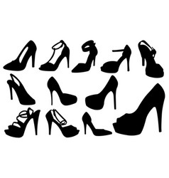 Set of different women shoes vector
