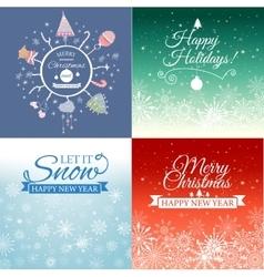 Set of Merry Christmas e-card template vector image