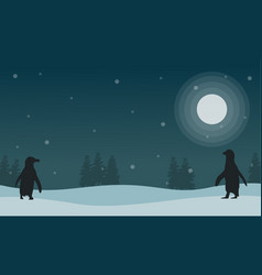 Snow scenery at night with penguin silhouettes vector