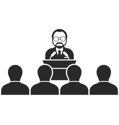 Speaker or politician at rostrum - seminar vector image vector image