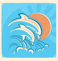 Two dolphins and sun retro of parent vector