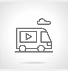 Video ads on van simple line icon vector