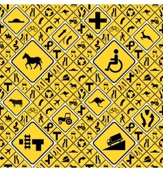 Different yellow road signs seamless pattern vector