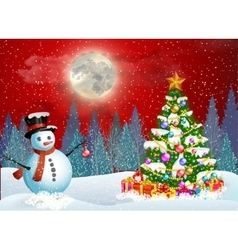 Cute snowman decorating a christmas tree vector