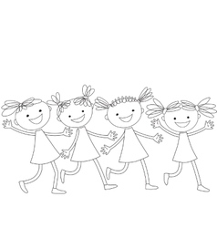 Group of running happy girls vector image