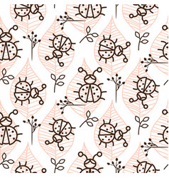 Ladybug and line pink leaves on white seamless vector