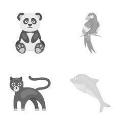 Pandapopugay panther dolphinanimal set vector
