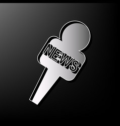Tv news microphone sign   gray vector