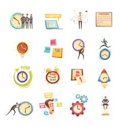 Time management retro cartoon icons set vector
