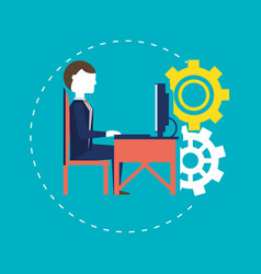 businessman working for the success concept vector image
