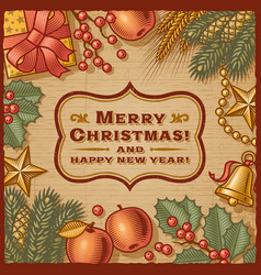 Christmas Retro Card vector image
