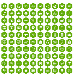 100 communication icons hexagon green vector image