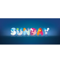 Sunday written with alphabet puzzle vector