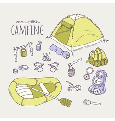 Hand drawn camping items collection vector