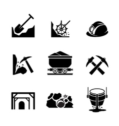 Mining and ore extraction icons vector