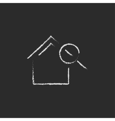 House and magnifying glass icon drawn in chalk vector