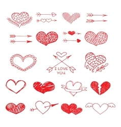 Love red heart and arrow sketch set vector