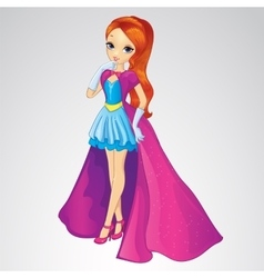 Princess in blue dress and long coat vector