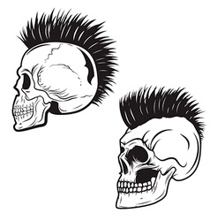 Set of skull with mohawk hairstyle isolated on vector
