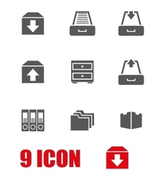 Grey archive icon set vector