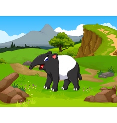 Funny tapir cartoon in the jungle vector