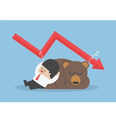 Businessman sleeping with bear with down trend gra vector image