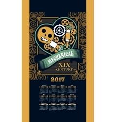 Calendar 2017 steam punk vector image vector image