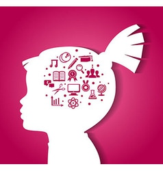 Child head with education icons vector image