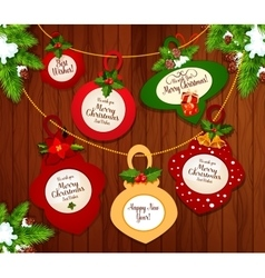 Christmas and New Year greeting card design vector image vector image
