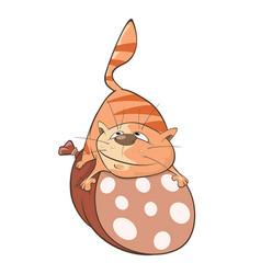 cute cat and sausage cartoon vector image