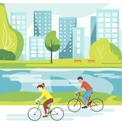 Cyclists in the Park vector image vector image