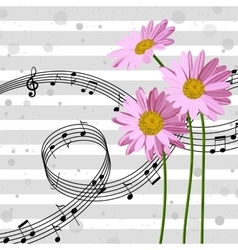 Daisies with music notes vector image