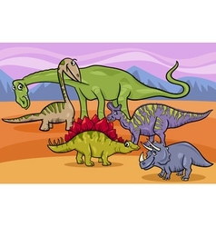 Dinosaurs group cartoon vector